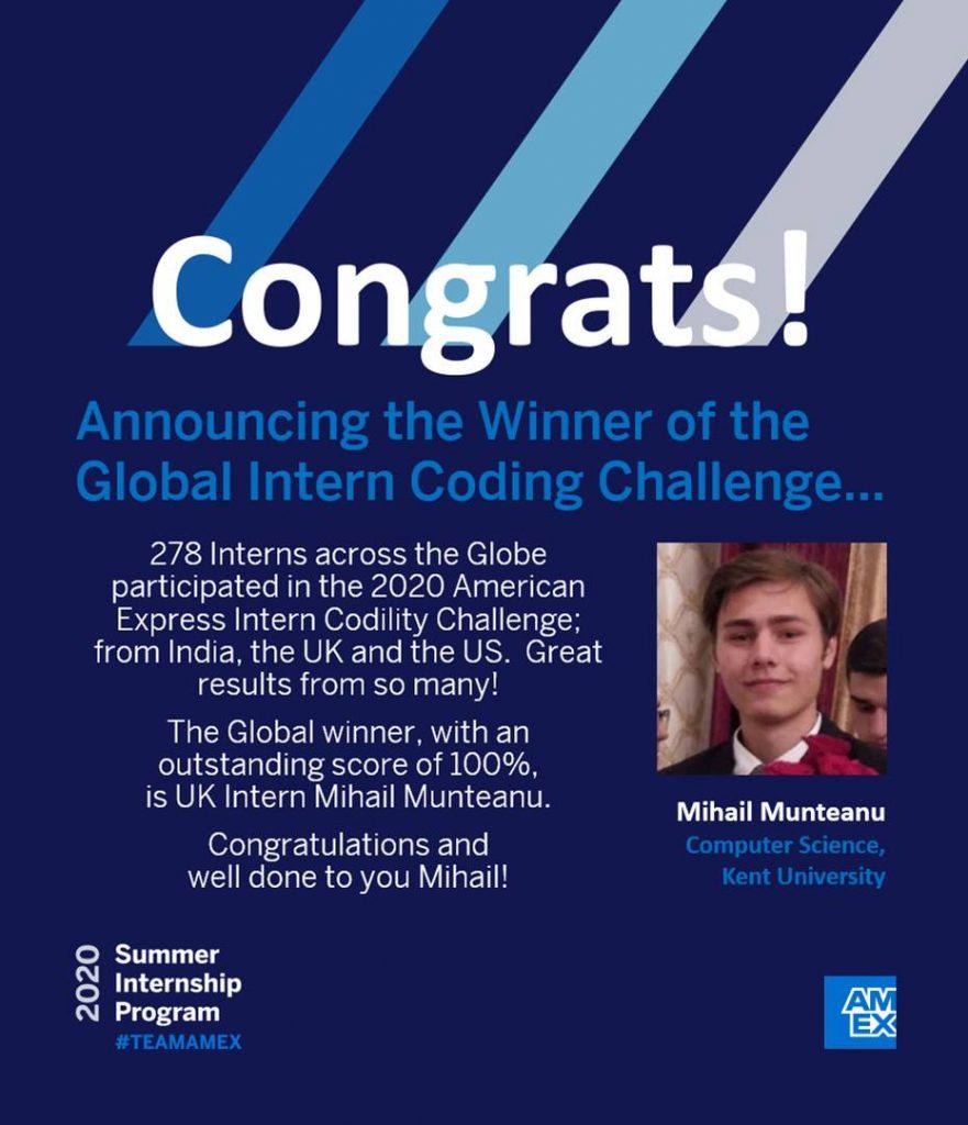 Congratulations certificate for Mihail Munteanu