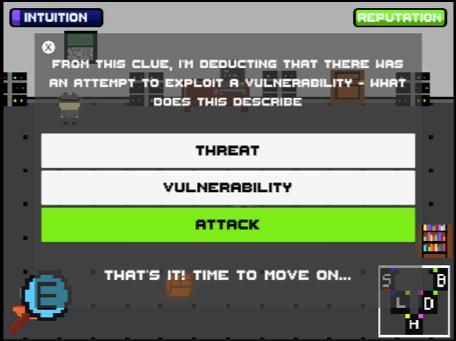 SherLOCKED screenshot showing correct quiz answer