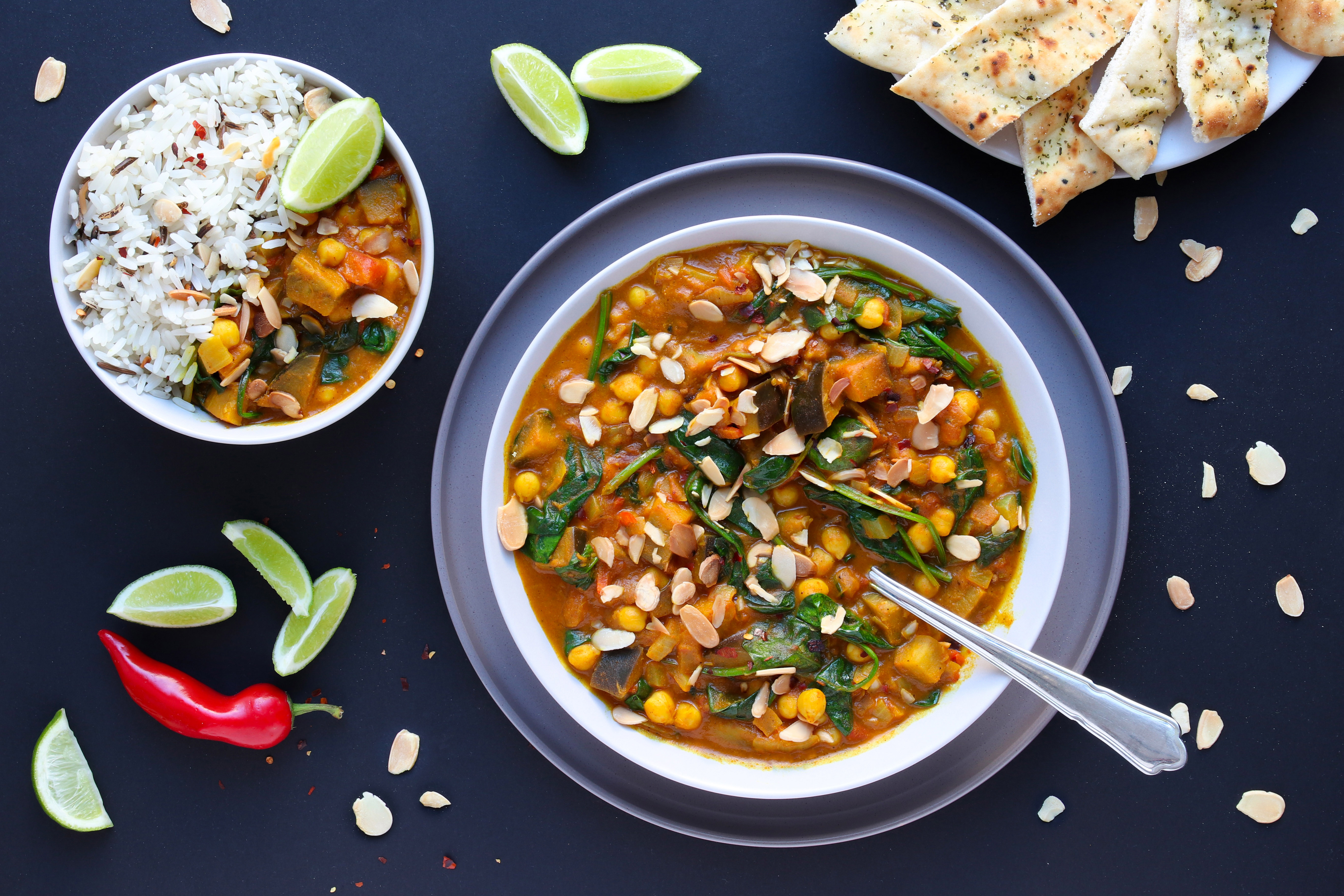 Vegan Chickpea, Aubergine and Spinach Curry