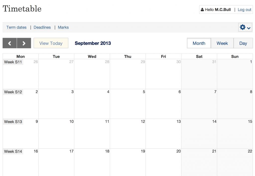 A student timetable calendar