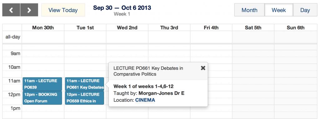 week view of a student calendar