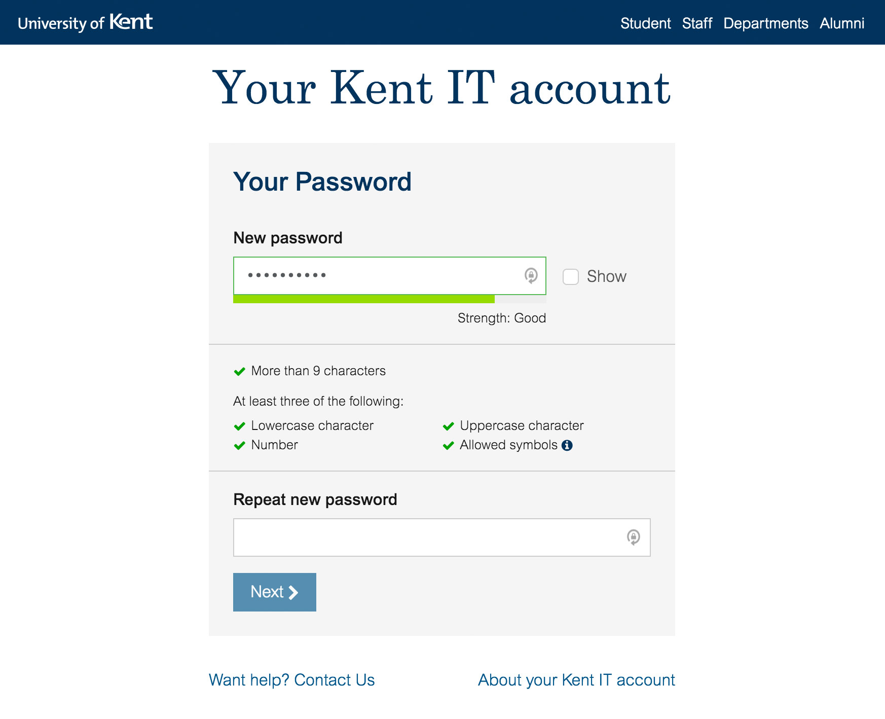 Kent IT account new account activation form