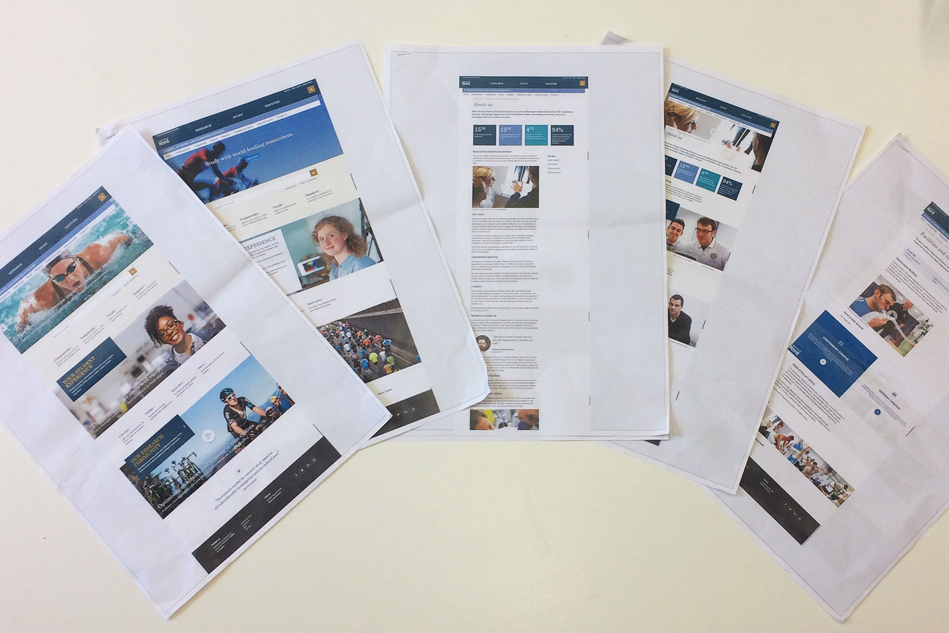 Selection of printouts used for user testing