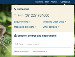 Screenshot of the University's new contact panel, with phone number, key links, and a department search