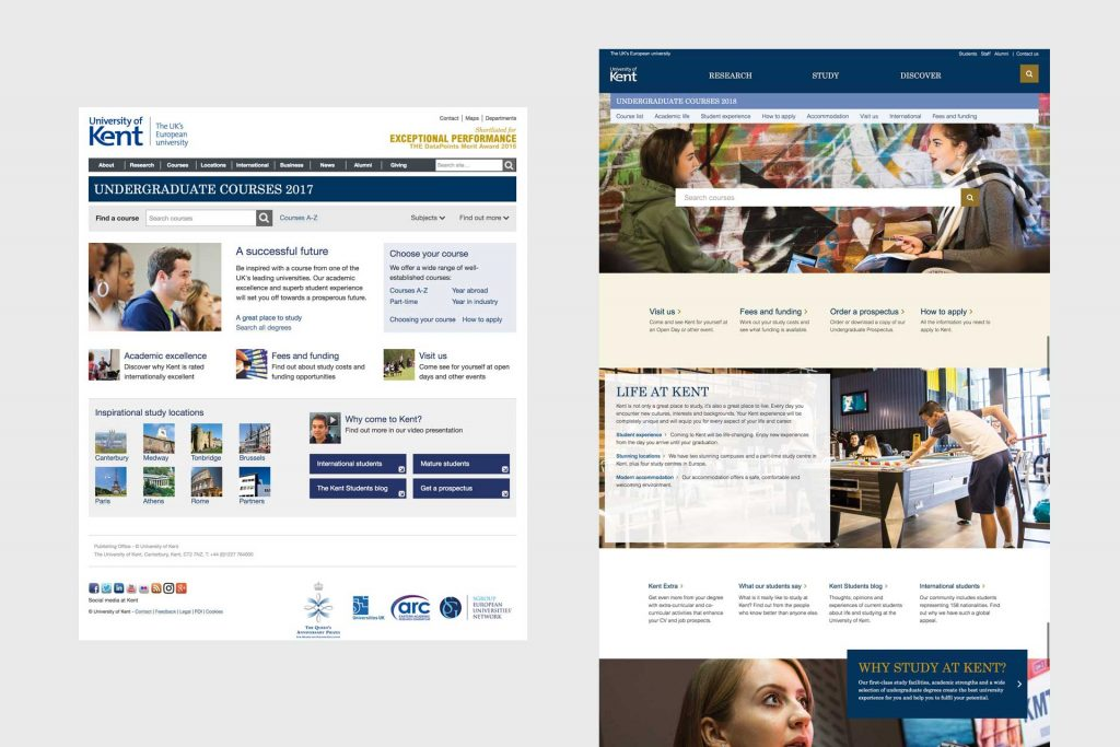 Screenshot showing old and new homepages