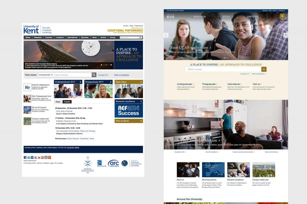 Screenshot of homepages