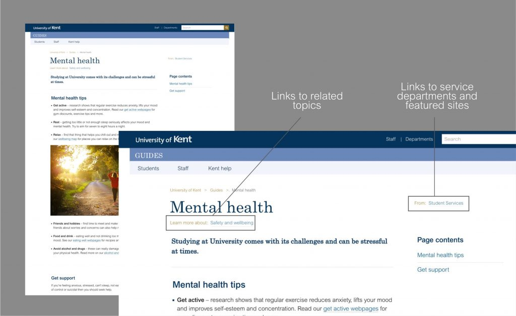 Screenshots showing the local navigation on a service content page which links to related topics and links to service departments and features sites.