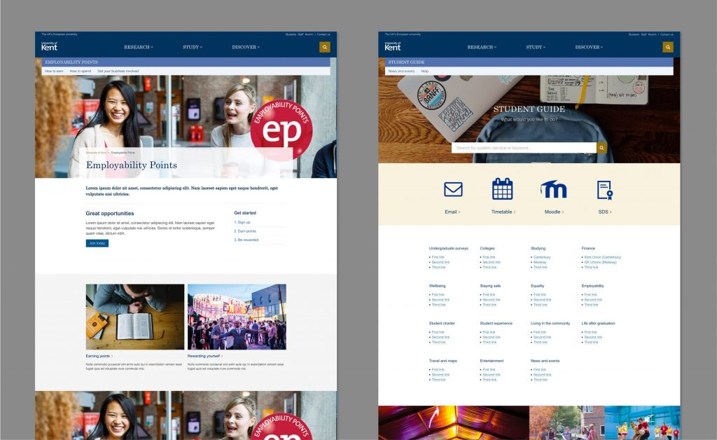 Screenshots showing example of a featured site using Employability Points and the Student Guide as an example.