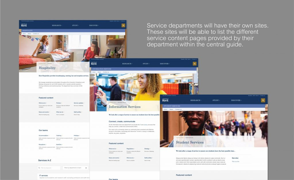 Screenshots or proposed designs for service departments. Service departments will have their own sites. These sites will be able to list the different service content pages provided by their department within the central guide.