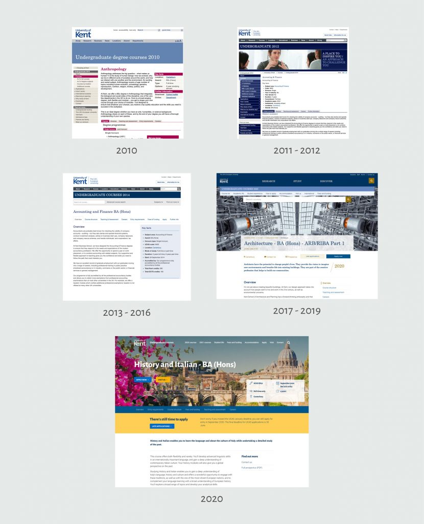 Different course page design over the years